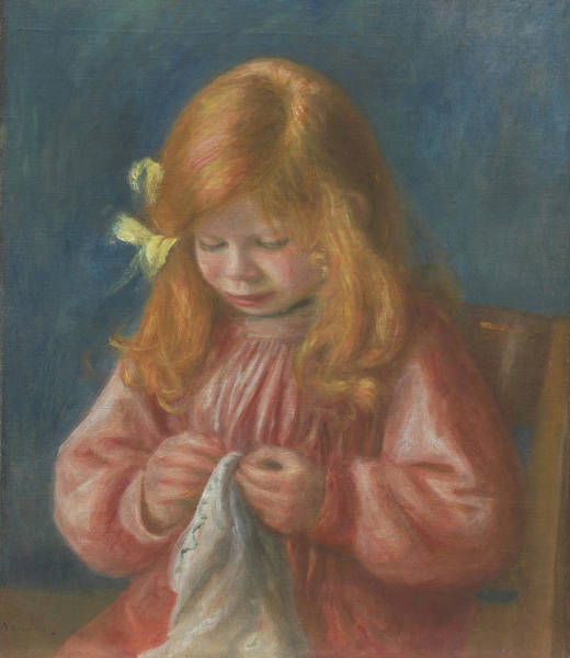Embroidery Painting - Jean Renoir Sewing by Pierre Auguste Renoir