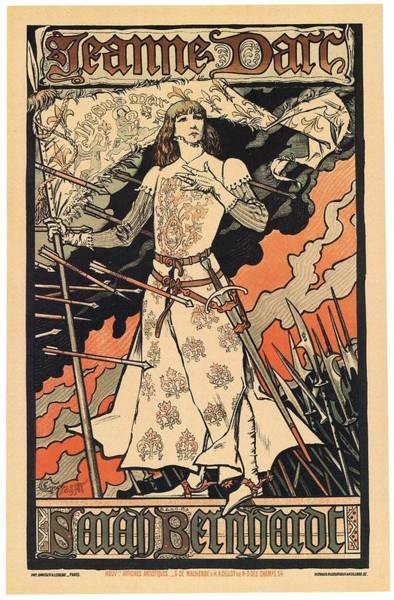 Wall Art - Mixed Media - Jeanne D'arc - Sarah Bernhardt - Vintage Art Nouveau Poster By Eugene Grasset  by Studio Grafiikka