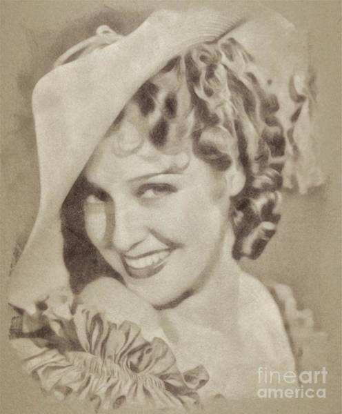 Pinewood Drawing - Jeannette Macdonald, Vintage Actress By John Springfield by John Springfield