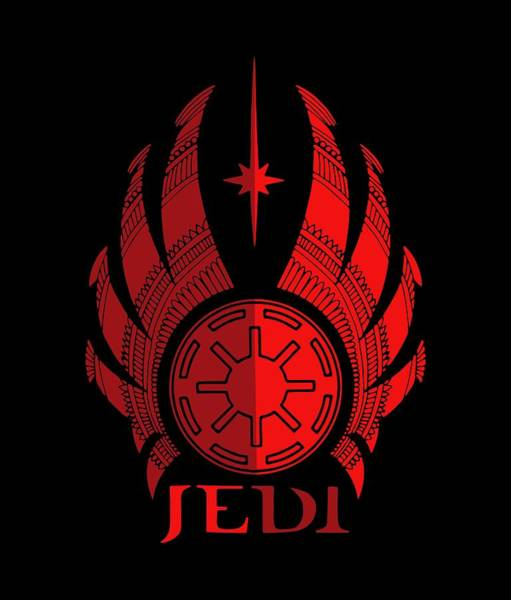 Best Selling Mixed Media - Jedi Symbol - Star Wars Art, Red by Studio Grafiikka