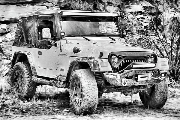 Photograph - Jeep Life Black And White by JC Findley