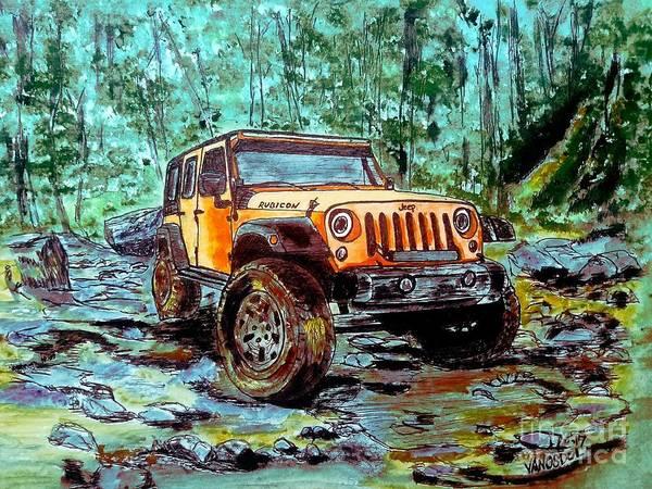 Seek Painting - Jeep Rubicon Watercolor by Scott D Van Osdol