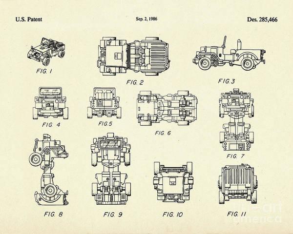 Transformer Painting - Jeep Transformer-1986 by Pablo Romero