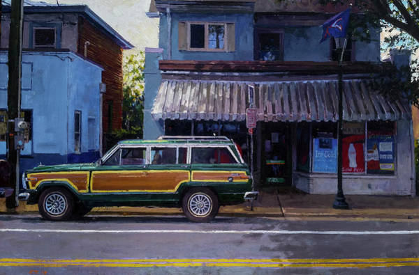 Wall Art - Painting - Jeep Wagoneer Near Blue Moon by Edward Thomas