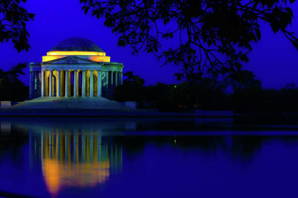 Photograph - Jefferson Memorial Blue Reflection by Stewart Helberg