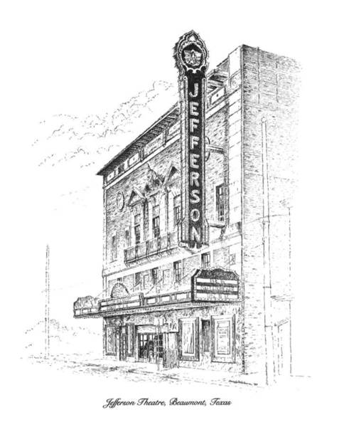 Drawing - Jefferson Theatre by Randy Welborn