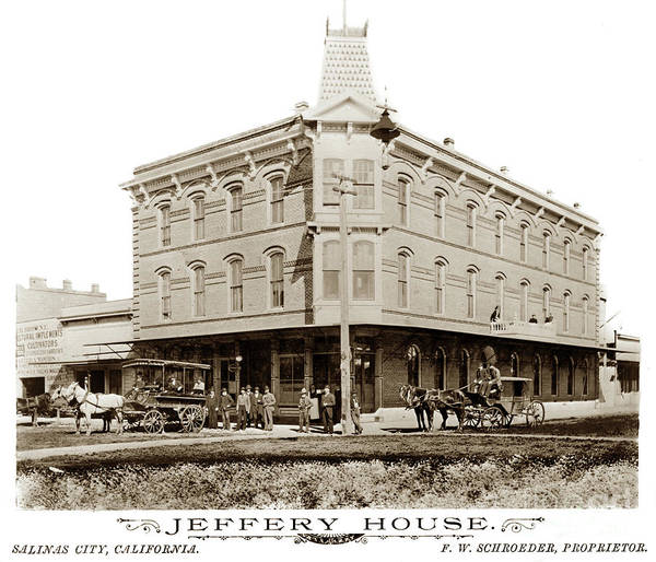 Photograph - Jeffery House,  F. W. Schroeder, Proprietor, Salinas by California Views Archives Mr Pat Hathaway Archives