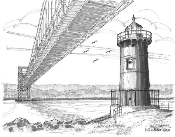 Drawing - Jeffrey's Hook Lighthouse by Richard Wambach