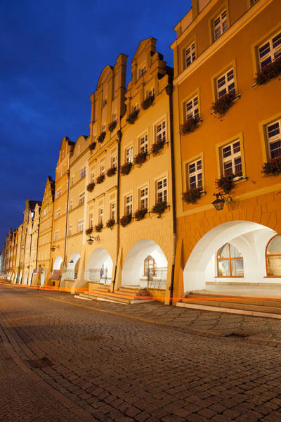 Tenement Photograph - Jelenia Gora Old Town Houses By Night In Poland by Artur Bogacki