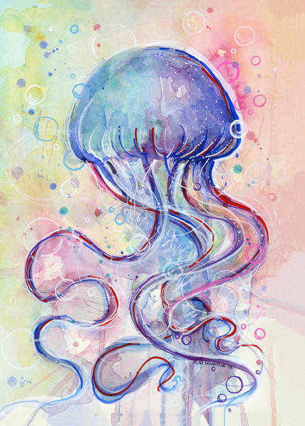 Blue Fish Painting - Jelly Fish Watercolor by Olga Shvartsur