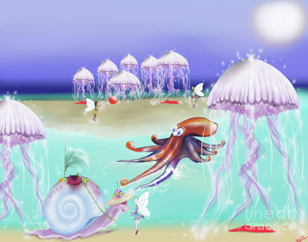 Sea Story Digital Art - Jelly Tree Island, Fairytale Childrens Illustration by Deb Bailey