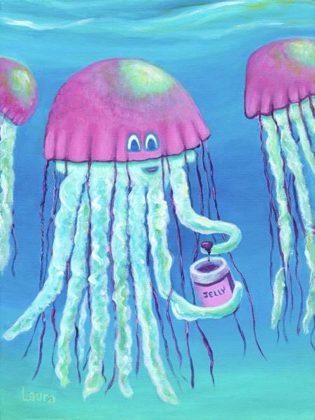 Wall Art - Painting - Jellyfish by Laura Zoellner