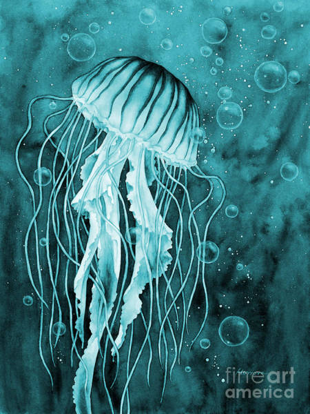 Wall Art - Painting - Jellyfish On Blue by Hailey E Herrera