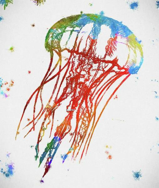 Wall Art - Painting - Jellyfish Paint Splatter by Dan Sproul