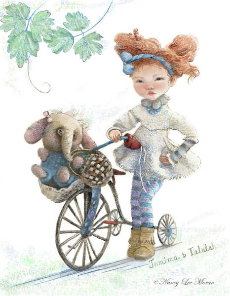 Magical Drawing - Jemima Starling And Her Elephant Friend by Nancy Lee Moran