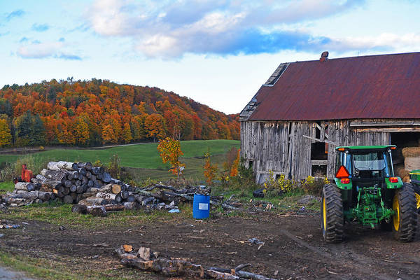 Photograph - Jenne Farm Reading Vermont Vt Shack And Tractor by Toby McGuire