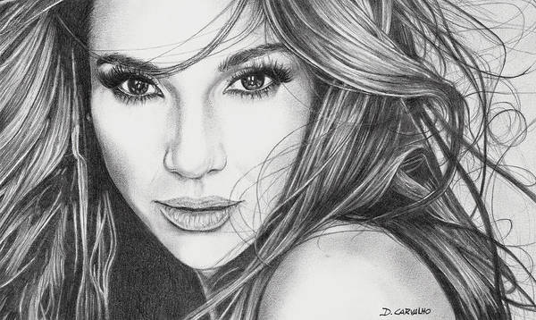 Drawing - Jennifer Lopez by Daniel Carvalho