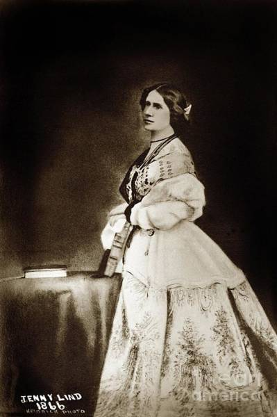 Photograph - Jenny Lind - Goldschmidt  1866 by California Views Archives Mr Pat Hathaway Archives