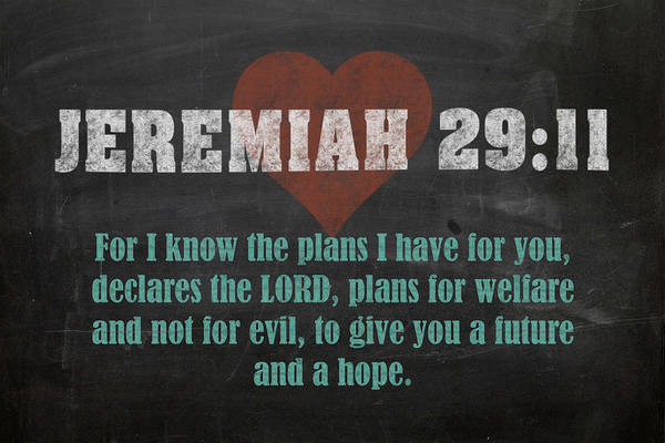 Bible Verse Mixed Media - Jeremiah 29 11 Inspirational Quote Bible Verses On Chalkboard Art by Design Turnpike