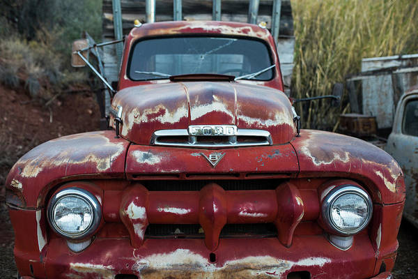 Photograph - Jerome, Az Junk Yard Ford V8 Red Old Rusty Truck by Toby McGuire