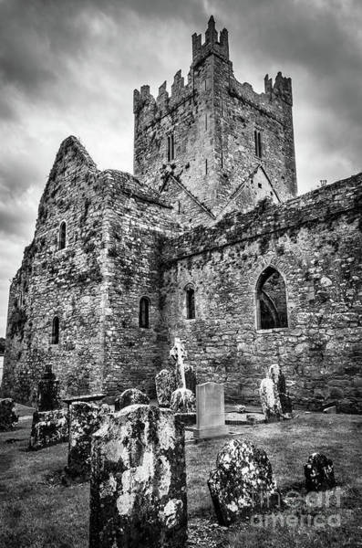 Wall Art - Photograph - Jerpoint Abbey And Old Gravestones Bw by RicardMN Photography