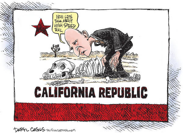 Drawing - Jerry Brown - California Drought And High Speed Rail by Daryl Cagle