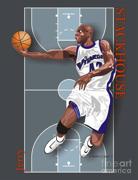 Digital Art - Jerry Stackhouse, No. 42 by Walter Neal