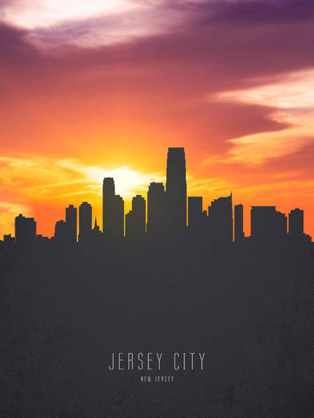 Wall Art - Painting - Jersey City New Jersey Sunset Skyline 01 by Aged Pixel