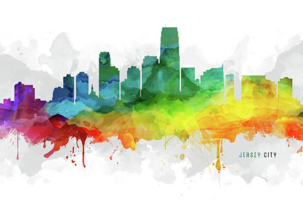 Wall Art - Digital Art - Jersey City Skyline Mmr-usnjjc05 by Aged Pixel