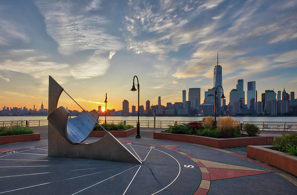 Photograph - Jersey City Sun Dial And Nyc Skyline by Juergen Roth