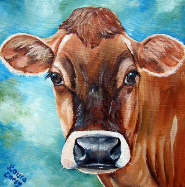 Calf Painting - Jersey Girl by Laura Carey