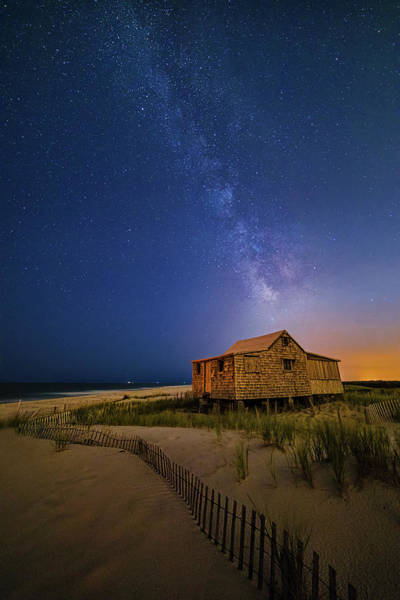 Photograph - Jersey Shore Setting Moon  And Milky Way by Susan Candelario