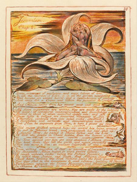 William Blake Drawing - Jerusalem. Plate 28 by William Blake