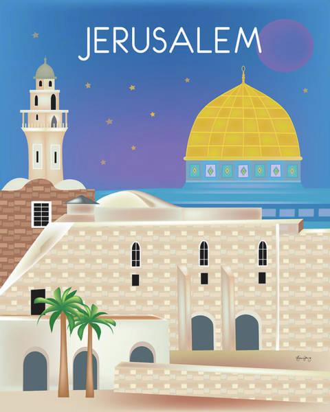 Mosque Digital Art - Jerusalem Vertical Scene by Karen Young