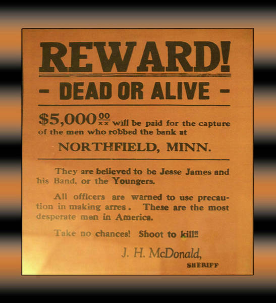 Wall Art - Photograph - Jesse James Vintage Reward Poster Dead Or Alive by Thomas Woolworth