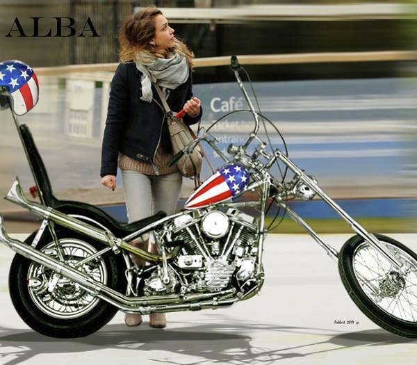 Jessica Alba Photograph - Jessica Alba, Captain America, Easy Rider by Thomas Pollart