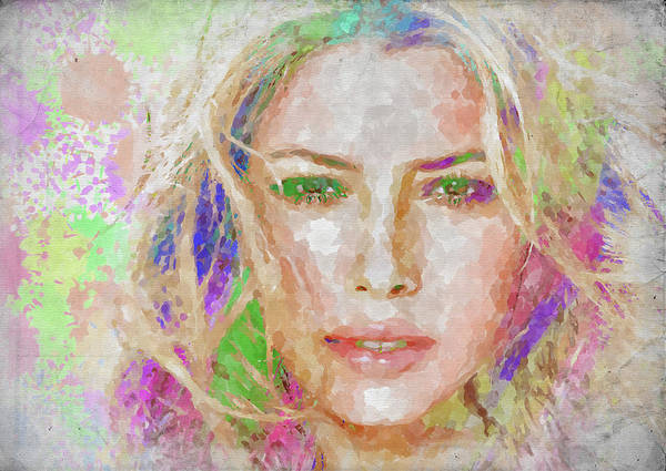Wall Art - Photograph - Jessica Biel Watercolor by Ricky Barnard