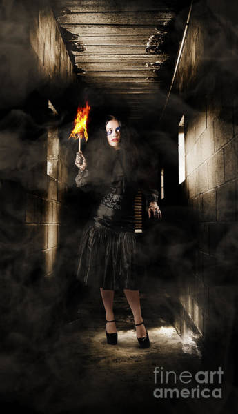 Photograph - Jester Woman In Fear Walking Haunted Castle Halls by Jorgo Photography - Wall Art Gallery