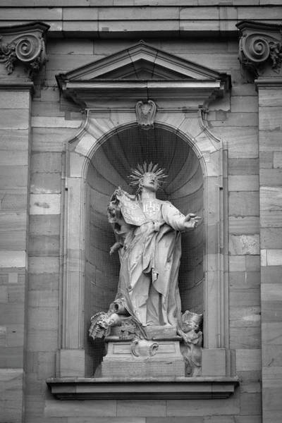 Angel Of Peace Photograph - Jesuit Church Christ Statue 1 B W by Teresa Mucha