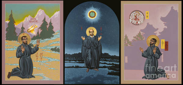 Painting - Jesuit Triptych-st Peter Faber-st Ignatius-st Francis Xavier by William Hart McNichols