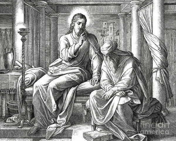 Wall Art - Drawing - Jesus And Nicodemus, Gospel Of John by Julius Schnorr von Carolsfeld