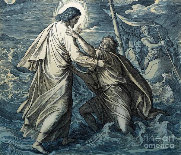 Disciple Wall Art - Painting - Jesus And Peter Walk On Water, Gospel Of Matthew by Julius Schnorr von Carolsfeld