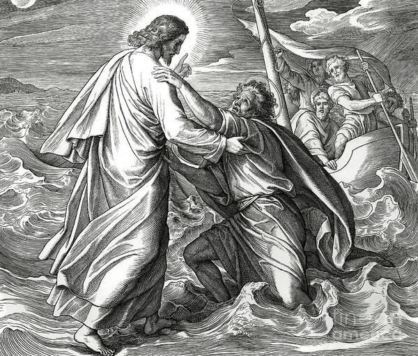 Gospel Drawing - Jesus And Peter Walk On Water, Scene From Gospel Of Matthew by Julius Schnorr von Carolsfeld
