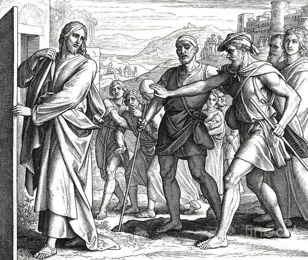 Wall Art - Drawing - Jesus And The Blind Men, Gospel Of Matthew by Julius Schnorr von Carolsfeld