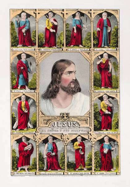 Currier And Ives Painting - Jesus And The Twelve Apostles - Vintage Currier And Ives Print by War Is Hell Store