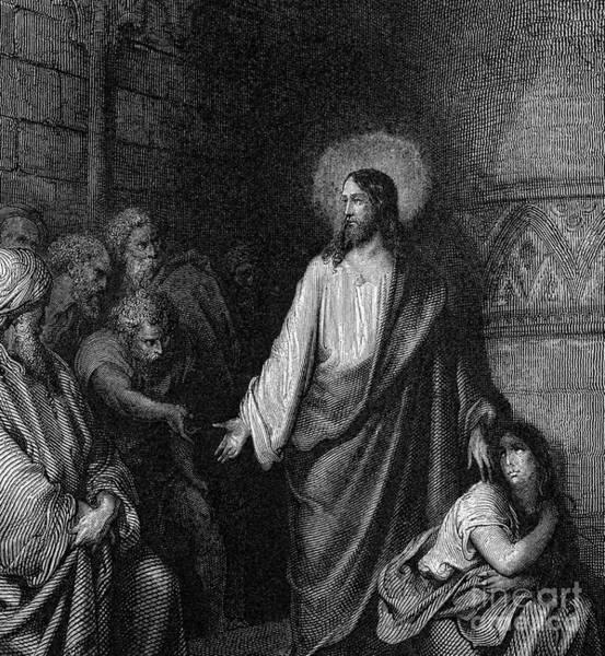 Wall Art - Drawing - Jesus And The Woman Taken In Adultery by Gustave Dore