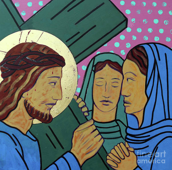 Golgotha Painting - Jesus And The Women Of Jerusalem by Sara Hayward