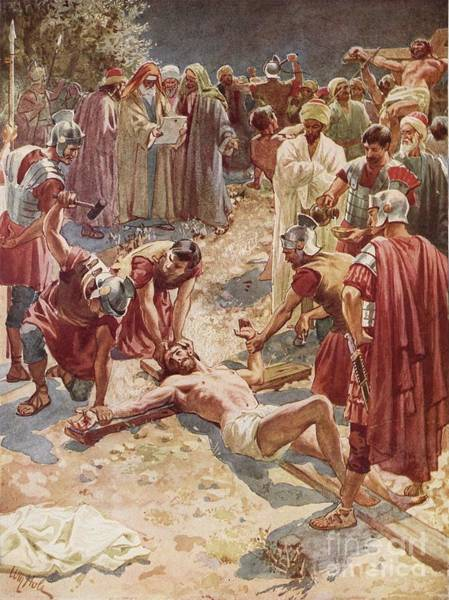 Sacrifice Painting - Jesus Being Crucified by William Brassey Hole