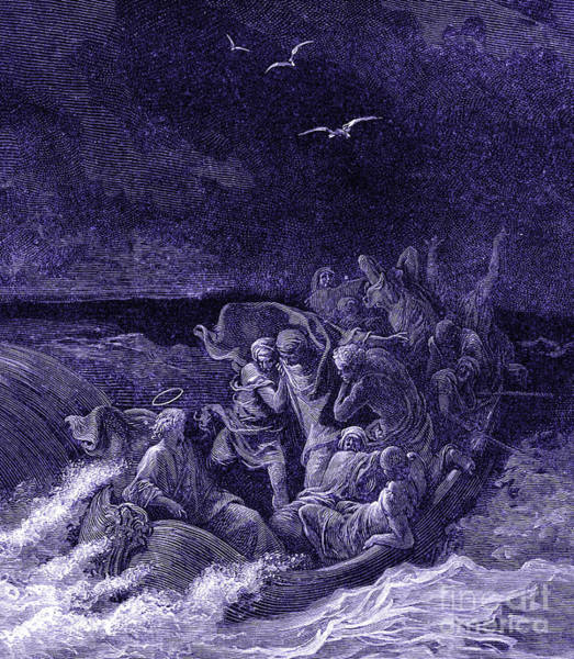 Miracle Drawing - Jesus Calms The Storm By G Dore by Gustave Dore