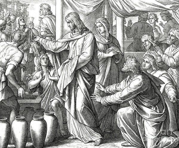 Wall Art - Drawing - Jesus Changes Water Into Wine, Gospel Of John by Julius Schnorr von Carolsfeld